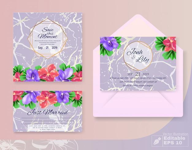 Conjunto de cartões de casamento convite com decoração de flores