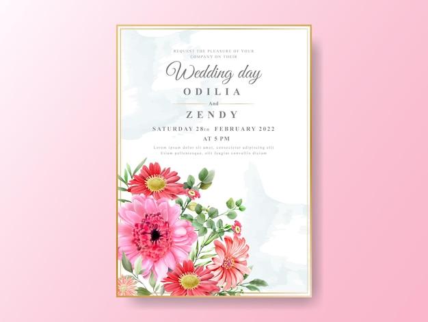 Conjunto de cartões de casamento, design floral verde