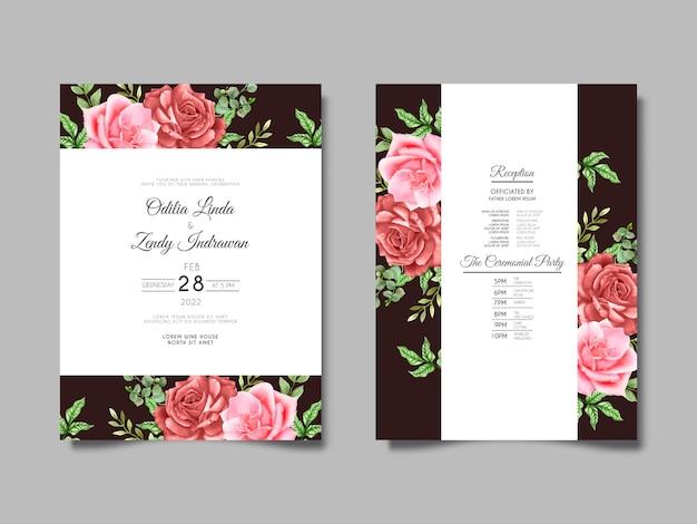 Conjunto de cartões de casamento lindos desenhados à mão com rosas vermelhas