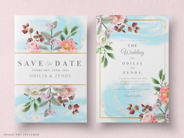 Conjunto de cartões de casamento moderno com design floral