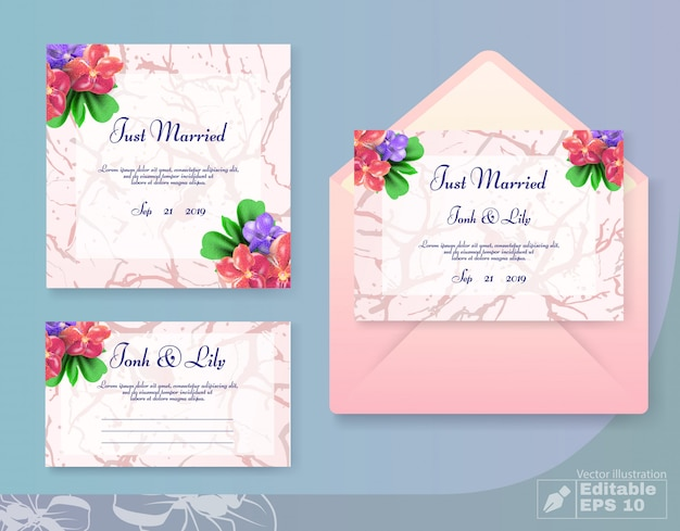 Conjunto de cartões de casamento recém casado em estilo floral