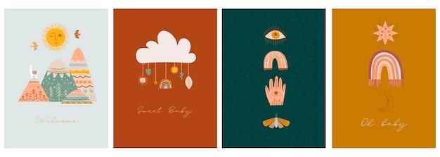 Conjunto de cartões de chá de bebê com elementos bonitos boho para crianças, decorativos e animais