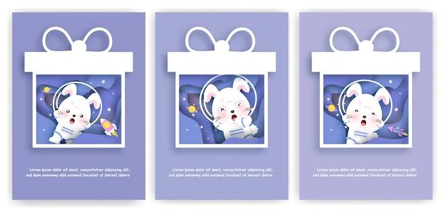Conjunto de cartões de chá de bebê com uma viagem de coelho fofa pela galáxia para cartão de aniversário, cartão postal