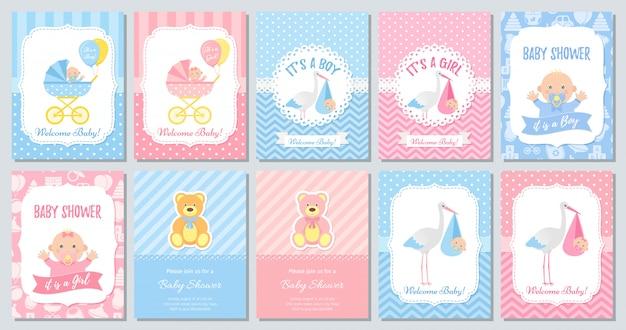 Conjunto de cartões de chá de bebê