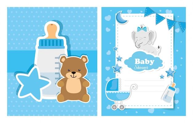 Conjunto de cartões de chuveiro de bebê com decoração fofa