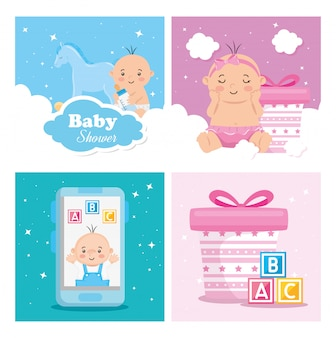 Conjunto de cartões de chuveiro de bebê com decoração