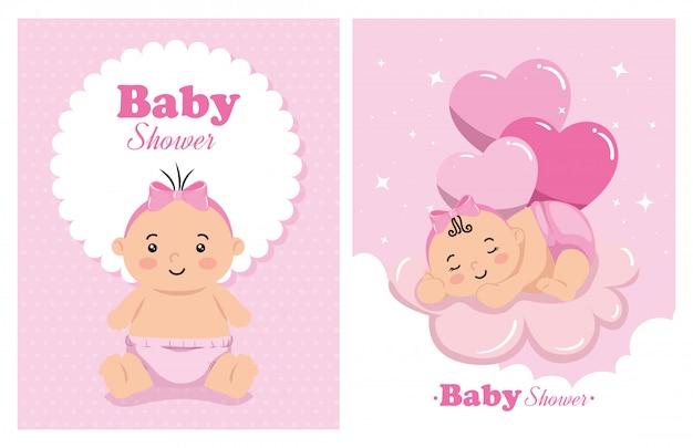 Conjunto de cartões de chuveiro de bebê com ilustração de decoração
