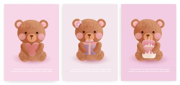 Conjunto de cartões de chuveiro de bebê e cartões de aniversário com urso fofo no estilo de cor de água.