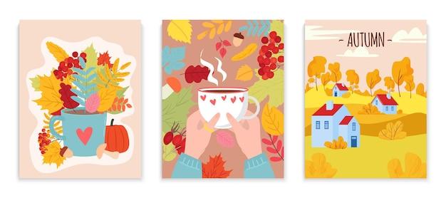 Conjunto de cartões de clima de outono e aconchegante cartão postal decorativo
