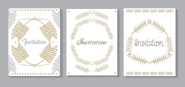 Conjunto de cartões de convite com caligrafia de folhas douradas