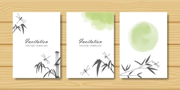 Conjunto de cartões de convite com ramo de libélula e bambu. pintura oriental tradicional em aquarela