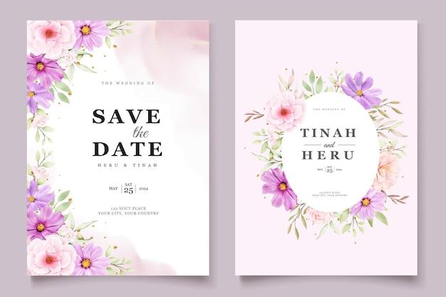 Conjunto de cartões de convite de casamento chrysanthemum