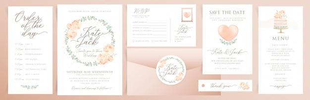 Conjunto de cartões de convite de casamento com elementos em aquarela