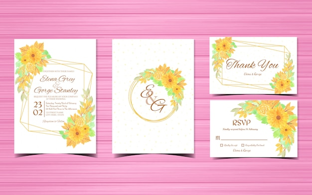 Conjunto de cartões de convite de casamento com flores amarelas