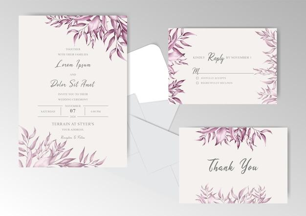 Conjunto de cartões de convite de casamento com moldura de folhagem