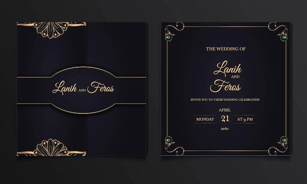 Conjunto de cartões de convite de casamento de luxo para salvar a data