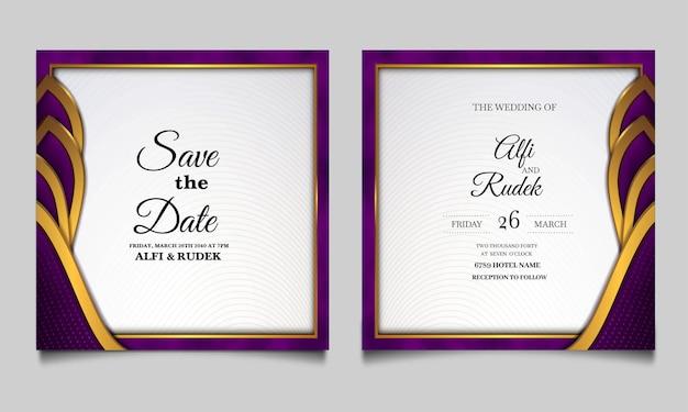 Conjunto de cartões de convite de casamento elegantes para salvar a data