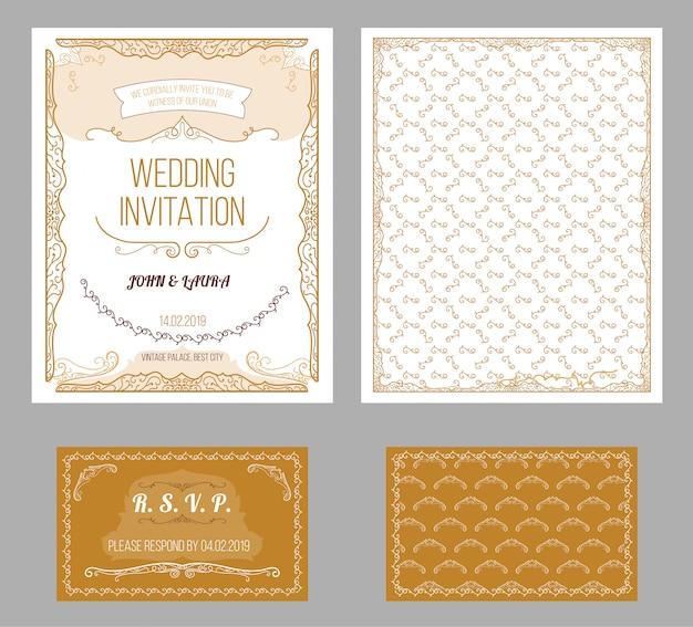 Conjunto de cartões de convite de casamento vintage