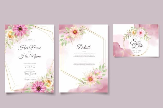Conjunto de cartões de convite de casamento watercolor chrysanthemum