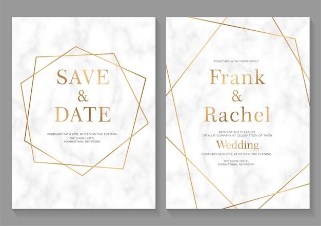 Conjunto de cartões de convite de casamento