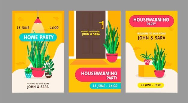 Conjunto de cartões de convite de festa de inauguração. plantas de casa com ilustrações vetoriais de vasos com texto, nomes, hora e data.