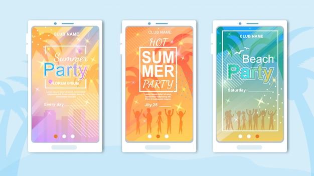 Conjunto de cartões de convite dos desenhos animados para festa de praia e discotecas no país tropical