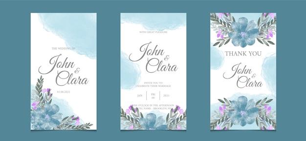 Conjunto de cartões de convite floral de casamento