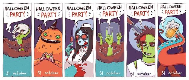 Conjunto de cartões de convite para festa de halloween ou folhetos. ilustração vetorial.