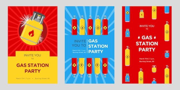 Conjunto de cartões de convite para festa de posto de gasolina. cilindros e balões com ilustrações vetoriais de sinais inflamáveis com data, hora e endereço. modelos para cartazes de anúncios ou folhetos