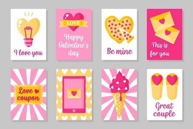 Conjunto de cartões de cor rosa, branco e azul para o dia dos namorados