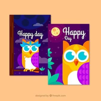 Conjunto de cartões de coruja em design plano