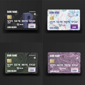 Conjunto de cartões de crédito detalhado realista