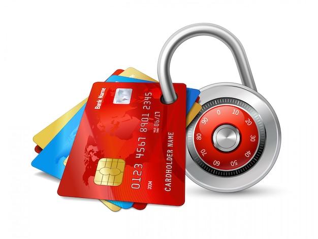 Conjunto de cartões de crédito seguros com chips