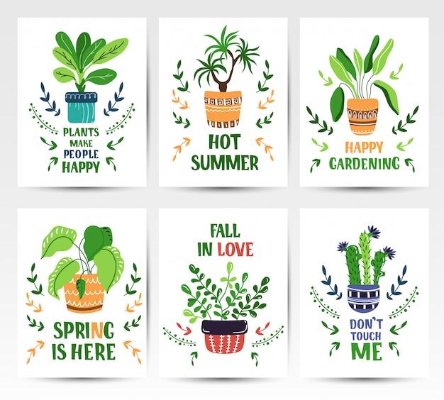 Conjunto de cartões de desenhos animados com plantas em vasos em casa ou flores