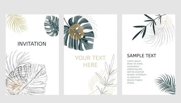 Conjunto de cartões de design tropical.