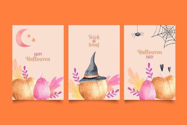 Conjunto de cartões de dia das bruxas com abóboras
