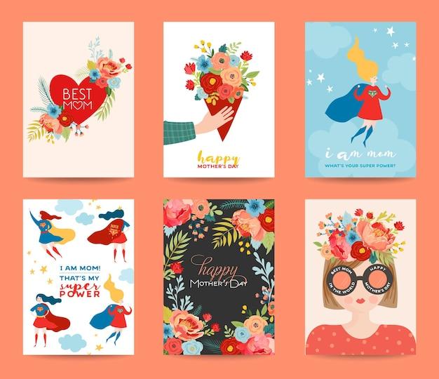 Conjunto de cartões de dia das mães. feliz dia das mães design com buquê de flores e personagem de super-herói mulher. banner floral primavera, cartaz, folheto. ilustração vetorial