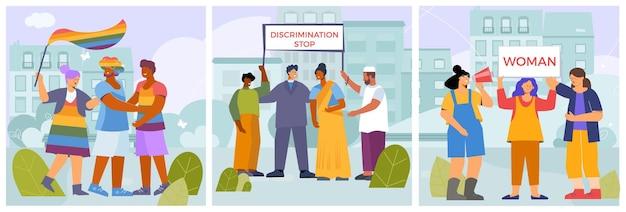 Conjunto de cartões de dia de discriminação zero
