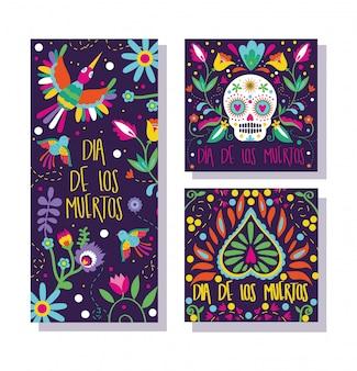 Conjunto de cartões de dia de muertos