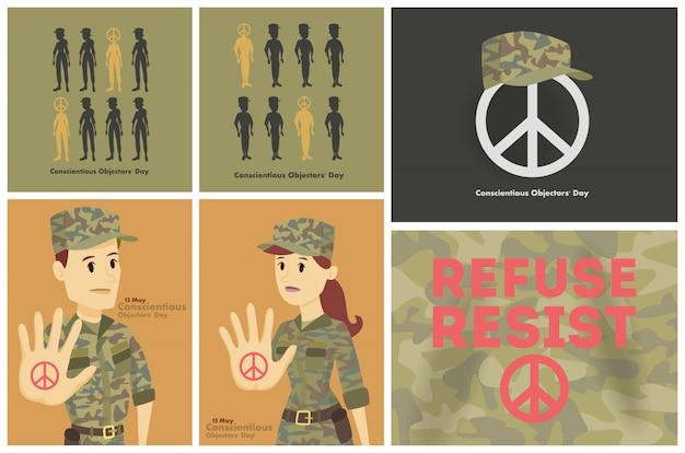 Conjunto de cartões de dia de objetores conscientes. pessoas contra a guerra.