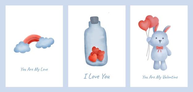Conjunto de cartões de dia dos namorados com coelho fofo e garrafa de corações.