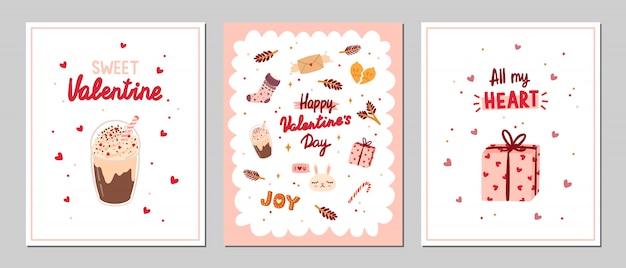 Conjunto de cartões de dia dos namorados com elementos românticos e de beleza.