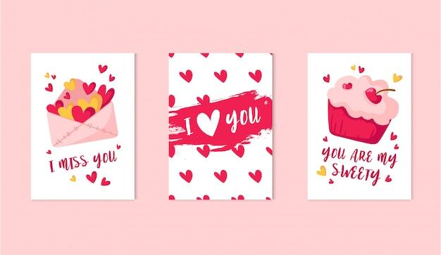 Conjunto de cartões de dia dos namorados - cupcake doce dos desenhos animados ou envelope de sobremesa, rosa com corações