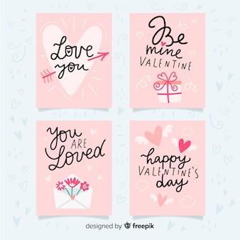 Conjunto de cartões de dia dos namorados de mão desenhada