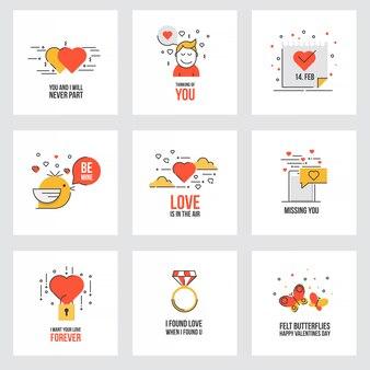 Conjunto de cartões de dia dos namorados plana