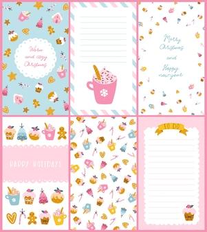 Conjunto de cartões de doces de natal. ilustração desenhada à mão de cupcakes, biscoitos de gengibre de diferentes formas e formatos, decorados para os feriados. paleta pastel bonita.