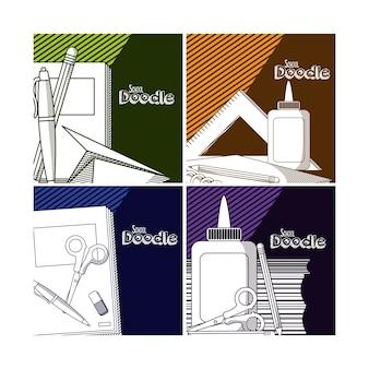 Conjunto de cartões de escola doodle