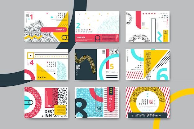 Conjunto de cartões de estilo neo memphis