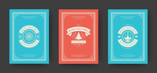 Conjunto de cartões de felicitações de natal vintage design tipográfico decoração ornamentada símbolos vetoriais