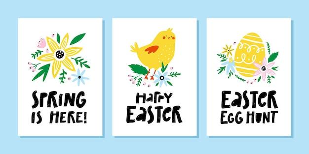 Conjunto de cartões de felicitações de páscoa e primavera